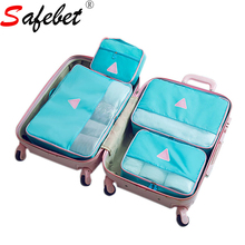 4pcs/set Women Travel Clothes Shoes Storage Bag Foldable Luggage Pouch Suitcase Packing Organizer Zipper Polyester Blue Pink Red(China)