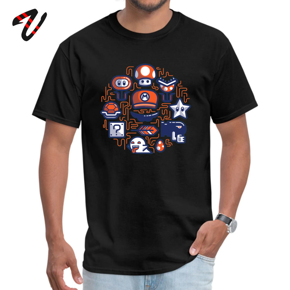 Company Mario Essentials Funny Short Sleeve T-Shirt Summer Fall O Neck 100% Cotton Tops & Tees for Men Tops Tees Design Mario Essentials 6888 black