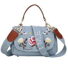 Luxury Flower Embroidery Jeans Handbag for Women Messenger Bags Vintage Brand Name Designer Crossbody Bag Casual Denims Tote(China)