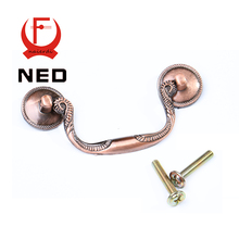 NED-RB8009 European Vintage Red Bronze Kitchen Cabinet Knobs 8.5x3cm Cupboard Handles Drawer Pulls With Rings Furniture Hardware