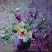 Diamond embroidery Icons Purple flowers Purple Vase  Embroidery with diamonds 5d diy diamond painting crystal Square rhinestones