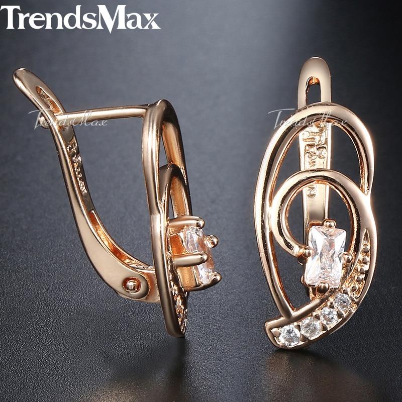 Pink CZ Swirl Shaped Earrings for Women Girls 585 Rose Gold Cubic Zircon Woman Earrings Wholesale Jewelry Gifts for Women KGE98