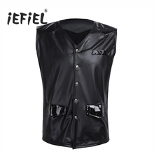 Men PU Leather Splice Patent Leather V-neck Sleeveless Vest with Front Snap Buttons Pockets Clubwear Tank Tops Clothes for Men's