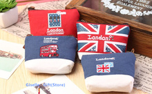Sweet NEW Retro London 10CM Mini Canvas Coin Purse & Wallet Case BAG ; Women Handbag Makeup Storage Holder Case BAG Pouch