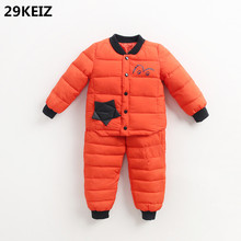 29KEIZ Winter Children Clothing Set 2 Pcs/Set Baby Parka Cute Eye Printed Orange Girls Boys Cotton Padded Jackets & Pants