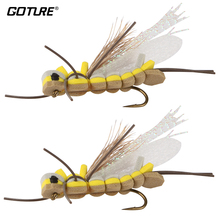 Goture Fly Fishing Lure Foam Insect Topwater Popper Surface Dry Flies for Trout Fishing with Mustard Hook 6# 2pcs/Lot(China)