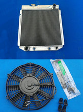 ALLOY Aluminum Radiator AND FAN For 3 Row FORD Mustang V8 ENGINE 5.0L 1964-1966 1965 64 65 66(China)