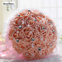 wedding bouquet Flowers Bridal Bouquet PE Rose Artificial Flower Bouquets Wedding Decorative Flower Bouquet Crystal Pearl(China)