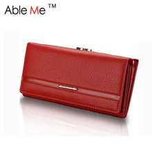 New 2017 Ableme Brand Dollar Price Leather Purse For Women Wallet Fashion Litchi Grain Hasp Ladies Long Clutch Wallet Female(China)