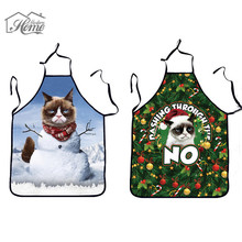 3D Funny Apron Christmas Cat Aprons For Women And Men Dinner Party Cooking Apron avental de cozinha tablier de cuisine Wholesale