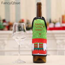 Christmas Apron Bottle Cover For Christmas Home Decoration Wine Bottle Sets Xmas Party Supplies(China)