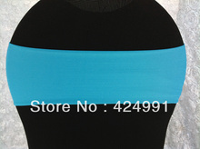 100pcs Big Discount Light Turquoise Blue Lycra Chair Bands ,Lycra Chair Cover  Bands for Weddings Events Decoration