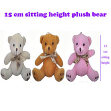 2017 New Cute Sitting Teddy Bear Plush Toys Small Bow Tie Bears Soft Stuffed Dolls 15cm 10pcs/lot