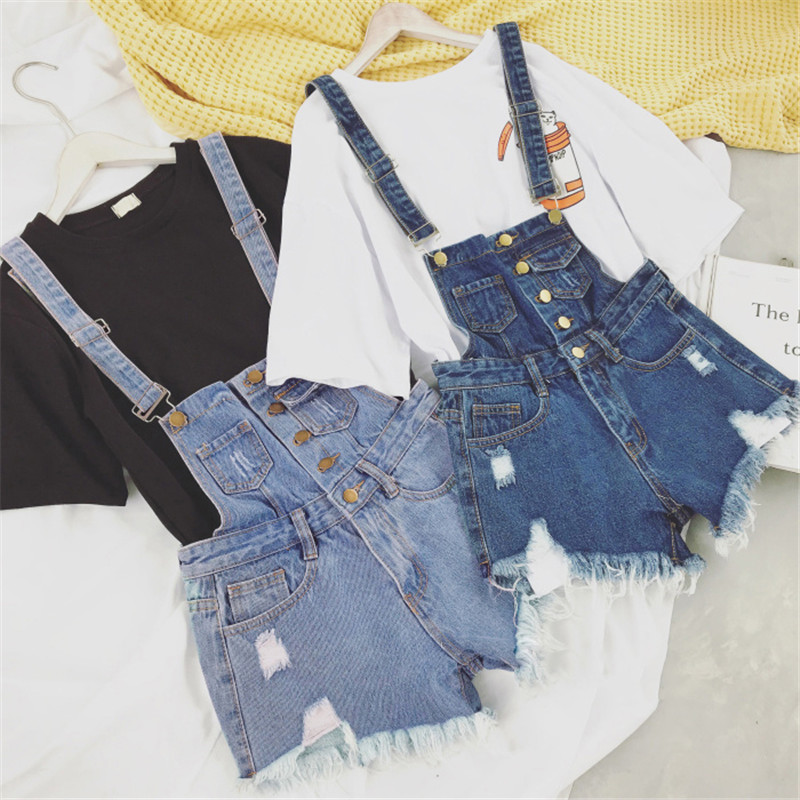 The new college wind denim strap shorts female summer hole loose Korean students was thin sling tide (6)