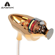 Aniwk Metal Gold Earphone Special Edition Rose Headset phone with Microphone 3.5mm HD HiFi In Ear Monitor Bass Stereo Earbuds