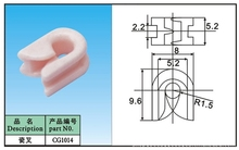 white ceramic  fork    porcelain wire guide part in wire and textile