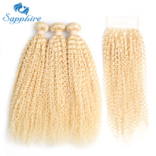 Sapphire Malaysian Curly Hair Weave Bundles 613 Blonde Virgin Hair With Closure For Hair Salon Kinky Curly Human Hair Extensions(China)