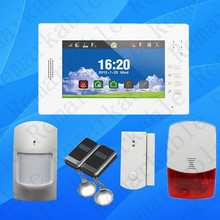 Advanced smart 7 inch touch screen home security 868MHZ GSM alarm system with lithium battery,multi-language Android & IOS APP