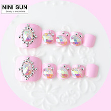 Spring and Summer 3d Rhinestone Fake Toe Nails Peacock 24 pcs Patch Full Cover Nail Art Tips Luxury Toe Decoration Accessory(China)