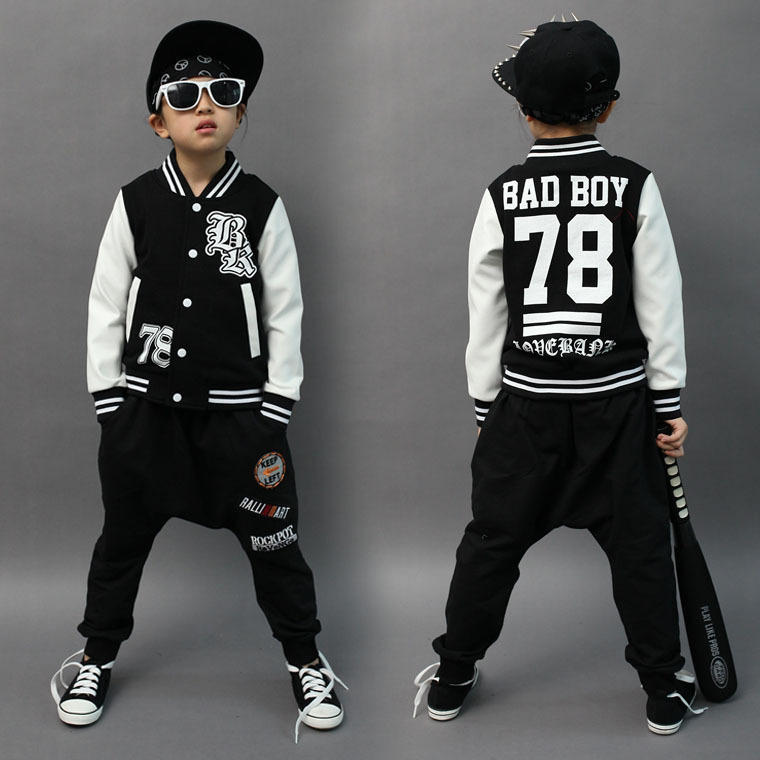 2017 Spring Autumn childrens clothing set bad boy 78# Print Costume kids jacket sport   suits Hip Hop harem pants &amp; sweatshirt <br><br>Aliexpress