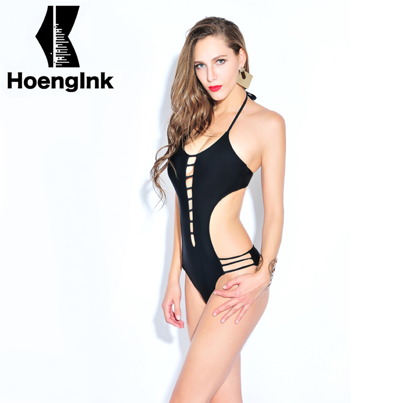 2017 BRANDMAN New black temptation sexy swimsuit hollow no back beach pool swimsuits Size S to 2XL 66083<br>