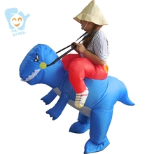 Halloween Costumes For Women Cosplay Inflatable Carry Me Ride On Blue Dinosaur T Rex Costume Adult Fancy Dress