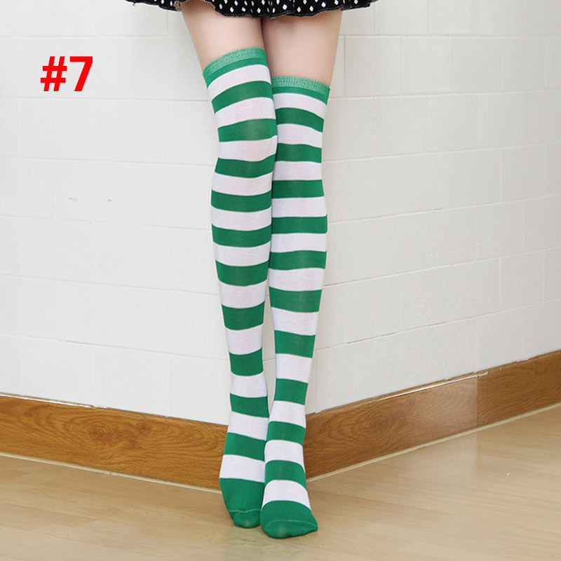 Polyester Fashion Stripe Beauty Tights, Stockings, Multicolor Knee-high Women Sweet Cute Girls Stockings 14