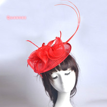 2017 New Sinamay Fascinator Feather Hairbands Red Black Gray Solid Floral Linen Wedding Hat Headwear For Women Hair Accessories