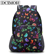 DCOMOR Casual Women Backpack Waterproof Nylon Women's Youth Printing Backpack Schoolbag Portable folding Backpack For Teenagers