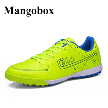 Football Shoes Kids Leather Soccer Shoes Women Blue/Green Mens Football Trainers Anti-Slip Sport Football Sport Sneakers