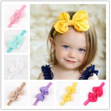 New 2015 nice bow headband kids elastic ribbon hairband girls headbands 52 hot selling 10 colors high quality 1 pcs retail(China)
