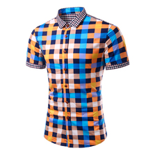 Mens Summer Brand Short Sleeve Camisa Masculina Social Plaid Stripe Chemise Homme England Style Casual Slim Shirts Mens TU1014