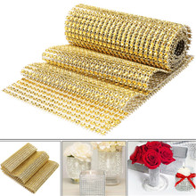 90cm*12cm 1 Yard Ribbon Diamond Mesh Trim Wrap Roll Sparkle Bling Cake Ribbon Strass DIY Wedding Party Decor 6ZHH194