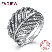 Valentine's Day Gift Authentic 100% 925 Sterling Silver Ring for Women Dazzling CZ Radiant Feather Wedding Rings Fashion Jewelry(China)