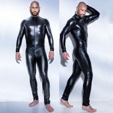 Buy Plus Size S-5XL Men's Sexy Latex Catsuit Black Wetlook Full Body Suits Zentai Bodysuit Clubwear PU Leather Lingerie