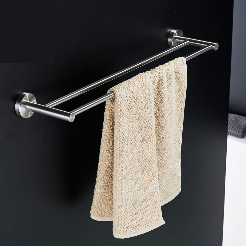 Nickel Brushed Bathroom Towel Bars Wall Mount Stainless Steel Double TowelHanger<br><br>Aliexpress