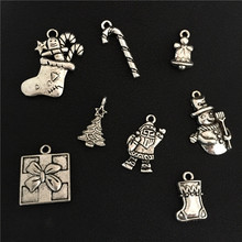 8pcs Mixed Tibetan Silver Merry Christmas Stockings Socks Tree Snowman Gifts Box Candy Cane Bell Santa Claus Charms DIY Jewelry