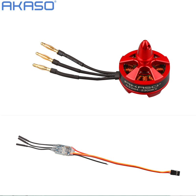 1pcs AKASO 2204 2300KV  Brushless Motor &amp; 1 pcs BLHeli 12A ESC 2S to 4S For QAV210 QAV250 ZRM250 Robocat 270 FPV Mini Quadcopter<br><br>Aliexpress