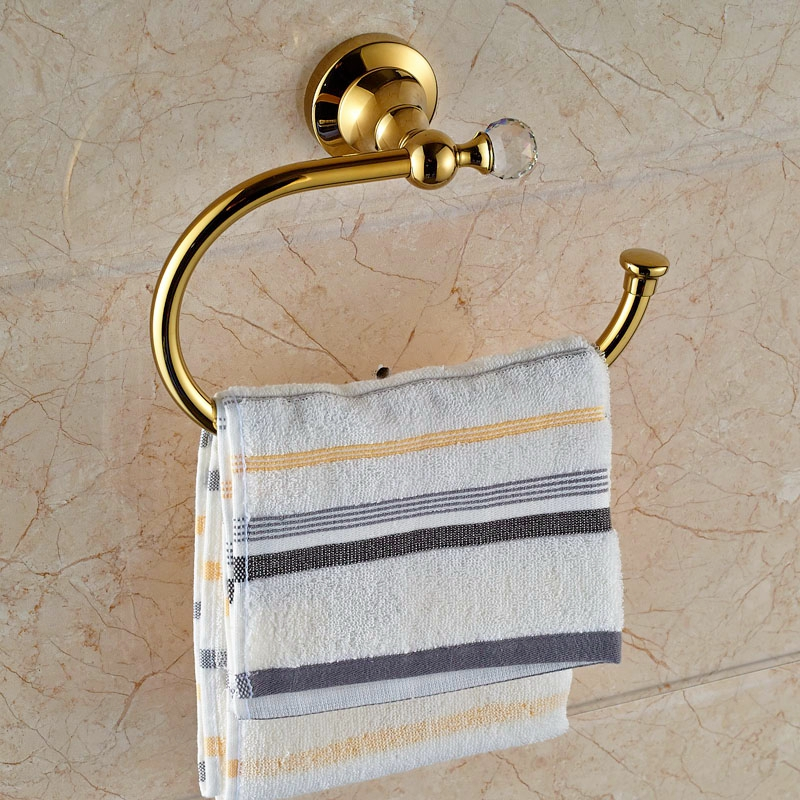 Freeshipping Gold Polish Towel Ring Wall Mounted Towel Hanger With Hook<br><br>Aliexpress
