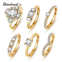 (6pcs /set) Hot Shiny Gold Color Crystal Austrian Zircon Rings Set Noble Charms Wedding Rings For Women Girls Fashion Jewelry(China)