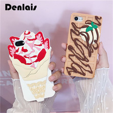 New Delicious Ice Cream Chocolate Biscuit Cute Cartoon Rubber Soft Silicone Phone Case For iPhone 7 7Plus 6 6S Plus 6Plus Cover