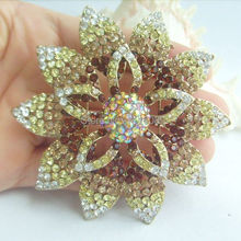 "3.15"" Golden Tone Fashion Costume Jewelry Elegant Brown Rhinestone Crystal Orchid Flower Brooch Pin EE03485C2"