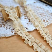 DIY clothing accessories exports beige lace cotton lace 2cm wide elastic(China)