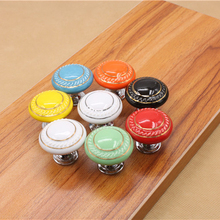 Dia.35mm Round Ceramic Bedroom Furniture Door knob Kitchen porcelain knobs handles Cabinet Cupboard Drawer Pull Handle(China)