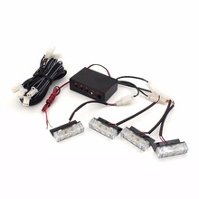 1W 3LED Emergency Light Strobe Light Vehicle Warning Light Flash lamps for Car and Truck (4-Pack)