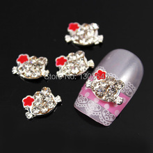 B144  10pcs/lot  New Rhinestones Hello Kitty Nail Art 3 Colors Flower Cell Phone Decoration Accessories For Nails