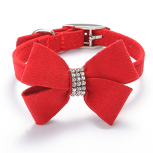 Soft velvet Adjustable necklace Collars for Dog Pet puppy Cat Rhinestone BOW cute small to large dog collar Free shipping(China)