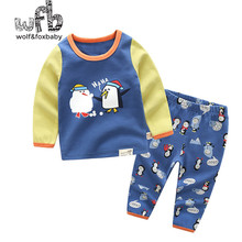 Retail 1-10 years set cotton long-sleeved T-shirt home service + pants printed penguin children spring fall autumn