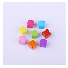 Multi Color Acrylic Cube Square Straight Hole Beads 70pcs/Lot Wholesale European Natural Block Beads For Kids DIY Jewelry Making