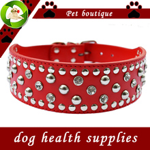 New Pitbull Studded Dog Collar Lead 2 Inch Wide Pu Leather Collars For Dogs Large Pet Products Adjustable Buckle Red Black Pink(China)